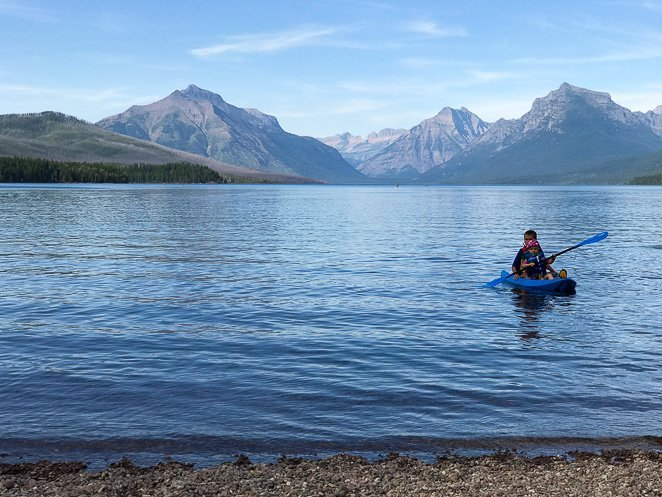 Boy Kayaking Glacier National Park