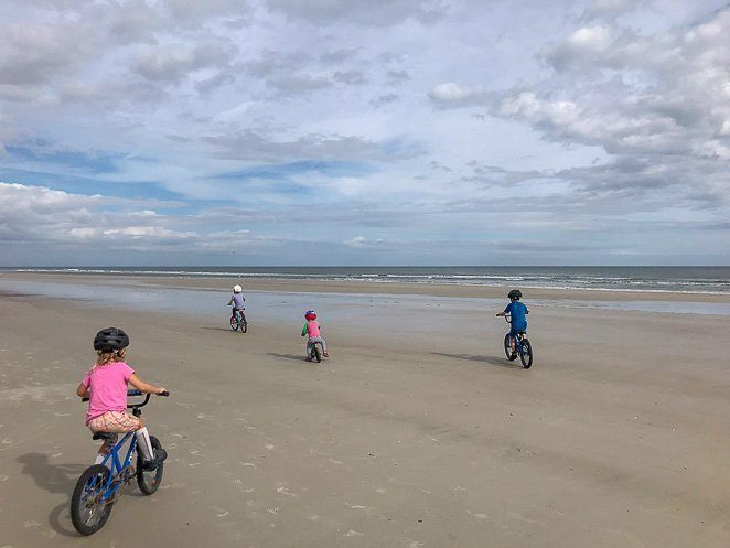 Riding bikes on Crescent Beach