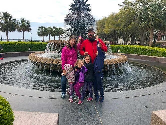 Pineapple fountain Charleston SC with kids_
