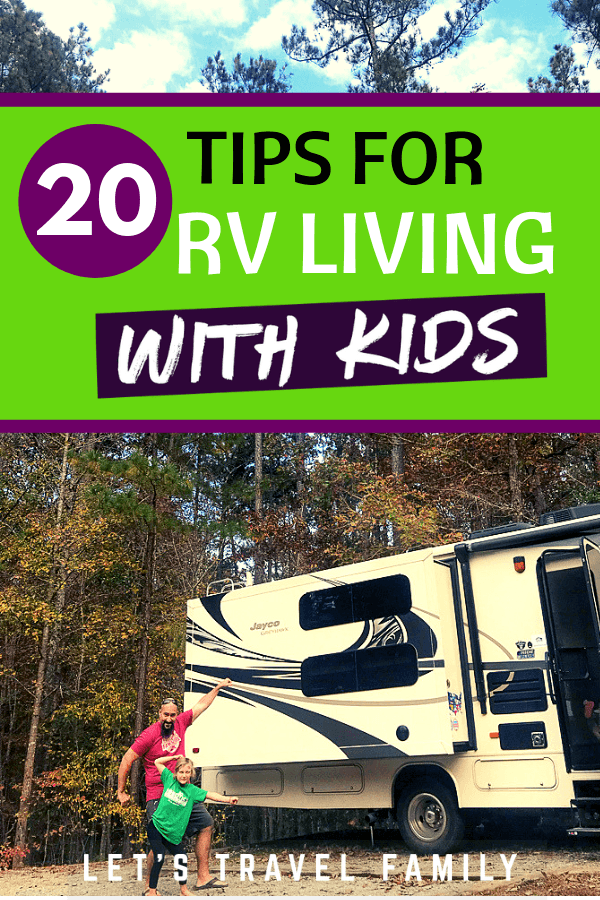 Check out our top 20 tips and fun ideas for full-time RV living with kids. As a full time traveling family in our class C motorhome, we've learned that living in the moment can make a huge impact. But practically speaking, we wanted to list our best tips for making this lifestyle doable with kids. #rv #rvliving #familytravel #rving