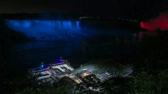 Niagara waterfall - lit up at night from the Canada side