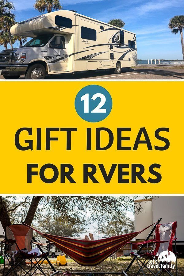 Christmas or birthday gift ideas for campers or RVers. If you are looking for a great gift idea for families that like to RV or camp, then check out our list of 12 Gift Ideas here! These RV camping ideas will help you find that special present. #gifts #rv #rver #rvlife #rvliving #familytravel #giftguide #camper #camping #christmas #birthday #gifts