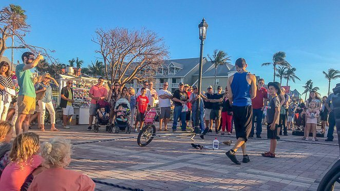 Key West family vacation - Street performers at Mallory Square