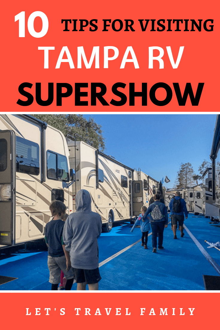 Do you dream about buying a new RV? Or, are you looking for a new RV to start out your RV living lifestyle? Learn how visiting the Tampa RV Supershow might be a fun and exiting experience for you. As a full-time RV living family, we enjoyed seeing a few Super C's and learning about different RV layouts. #rv #rvliving #rvlife