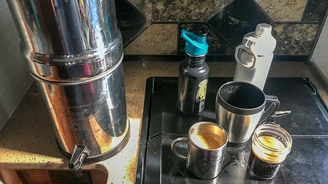 Living in a travel trailer full time with a Berkey