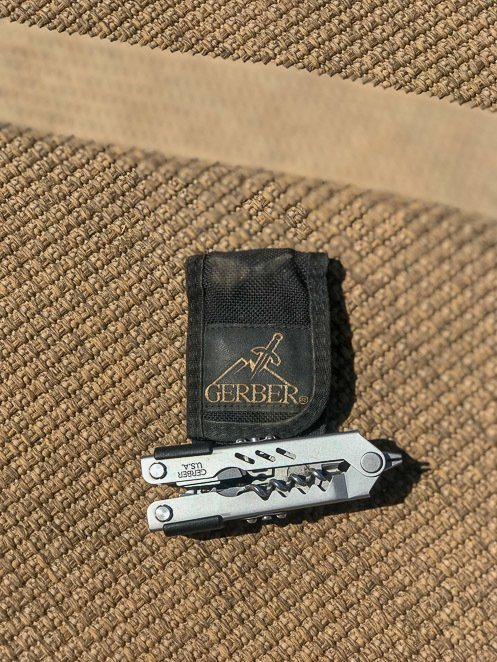 Camping tool kit with a Gerber