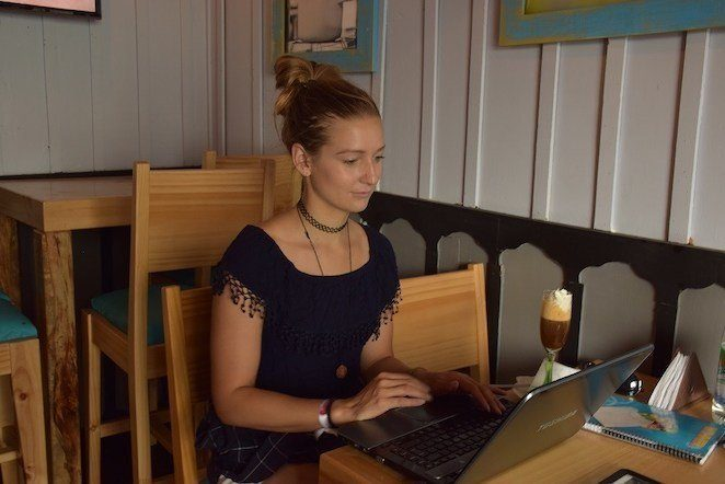 Work from anywhere jobs - Working in a coffee shop