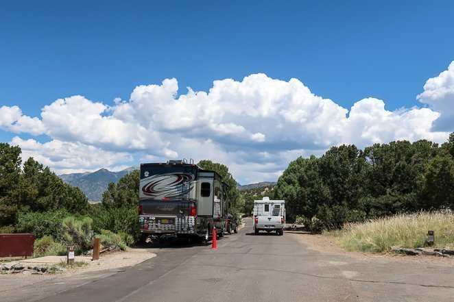 Big Rigs camping at Pinon Flats campground