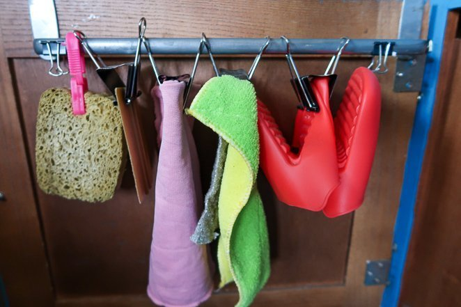Kitchen Rag Holder RV kitchen storage ideas