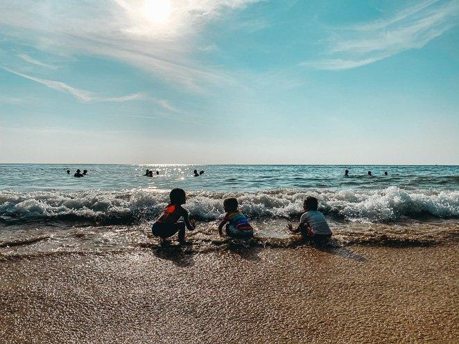 Beach play at sunset in Phuket