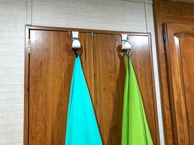 Command hooks for towels in the RV