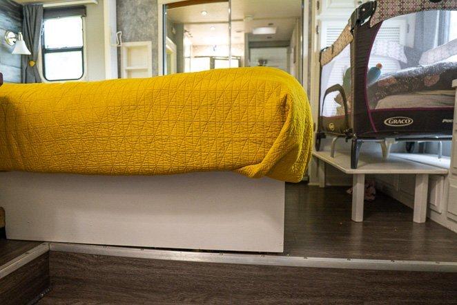 Baby bed in RV bedroom