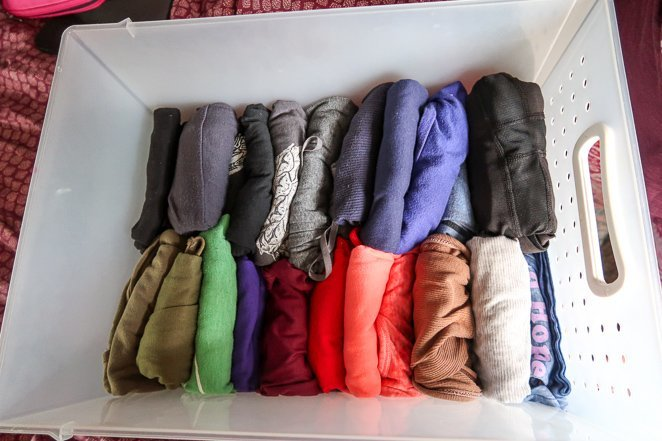 Bin of clothes under RV bed