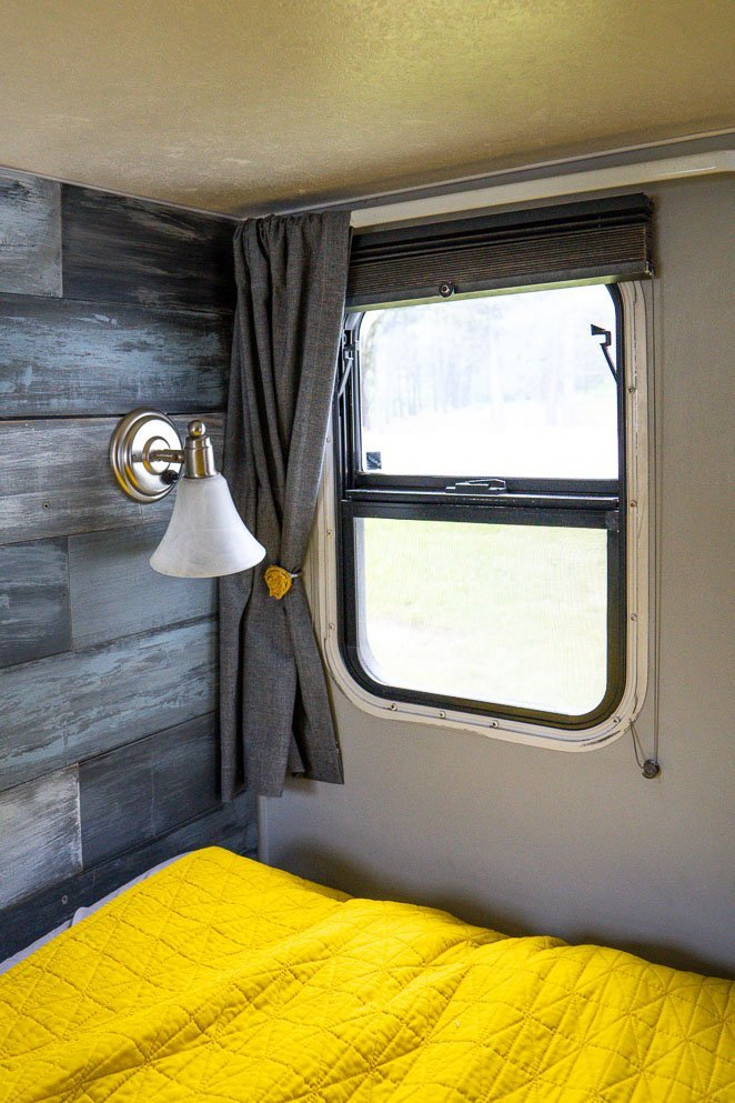 Curtains in the RV bedroom