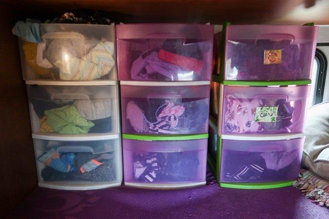 Plastic drawers for RV bedroom