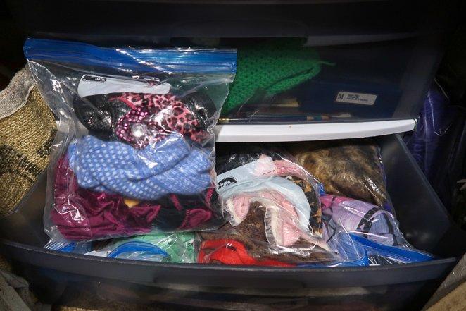 Zip lock bags for clothes in RV bedroom
