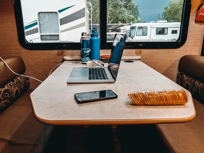 RV desk at table